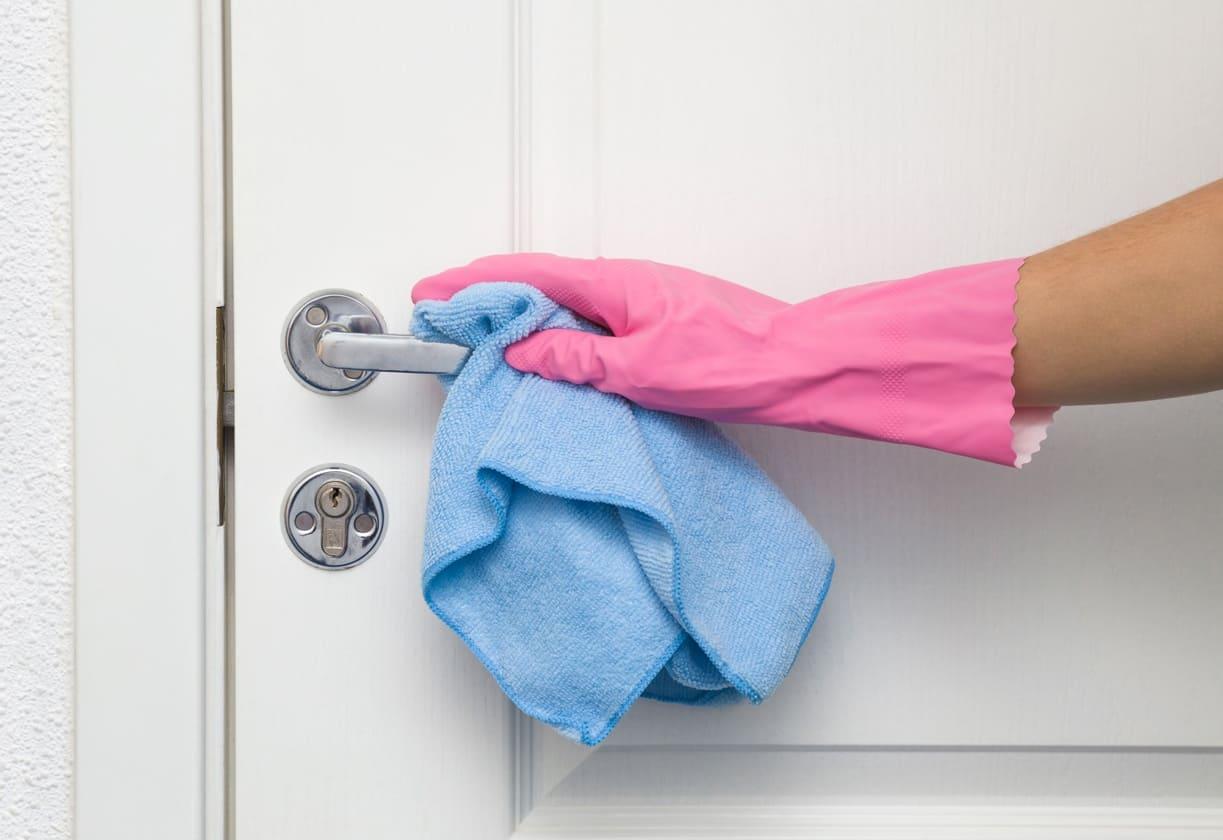 Дръжките на вратите са ползват от всички хора, който са в дадено жилище. Затова е важно те да се дезинфекцират сравнително често със подходящ препарат.